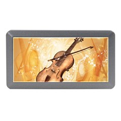 Wonderful Violin With Violin Bow On Soft Background Memory Card Reader (Mini)