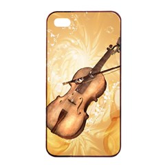 Wonderful Violin With Violin Bow On Soft Background Apple Iphone 4/4s Seamless Case (black)