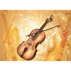 Wonderful Violin With Violin Bow On Soft Background Birthday Cake 3d Greeting Card (7x5)