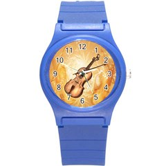 Wonderful Violin With Violin Bow On Soft Background Round Plastic Sport Watch (S)