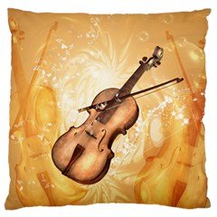 Wonderful Violin With Violin Bow On Soft Background Large Cushion Cases (One Side)