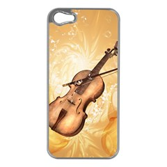 Wonderful Violin With Violin Bow On Soft Background Apple iPhone 5 Case (Silver)