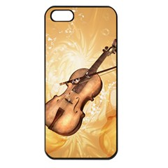 Wonderful Violin With Violin Bow On Soft Background Apple iPhone 5 Seamless Case (Black)