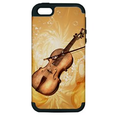 Wonderful Violin With Violin Bow On Soft Background Apple iPhone 5 Hardshell Case (PC+Silicone)