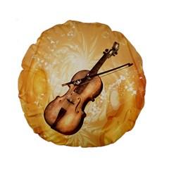 Wonderful Violin With Violin Bow On Soft Background Standard 15  Premium Round Cushions