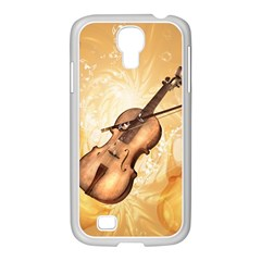 Wonderful Violin With Violin Bow On Soft Background Samsung GALAXY S4 I9500/ I9505 Case (White)