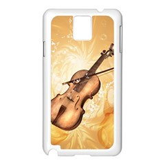 Wonderful Violin With Violin Bow On Soft Background Samsung Galaxy Note 3 N9005 Case (White)