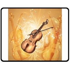 Wonderful Violin With Violin Bow On Soft Background Double Sided Fleece Blanket (Medium)