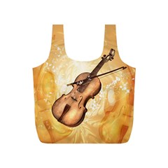 Wonderful Violin With Violin Bow On Soft Background Full Print Recycle Bags (S)