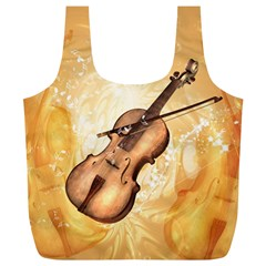 Wonderful Violin With Violin Bow On Soft Background Full Print Recycle Bags (L)