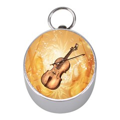 Wonderful Violin With Violin Bow On Soft Background Mini Silver Compasses