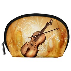 Wonderful Violin With Violin Bow On Soft Background Accessory Pouches (large)