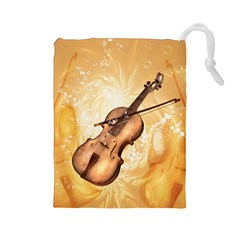 Wonderful Violin With Violin Bow On Soft Background Drawstring Pouches (large)