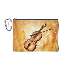 Wonderful Violin With Violin Bow On Soft Background Canvas Cosmetic Bag (M)