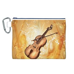Wonderful Violin With Violin Bow On Soft Background Canvas Cosmetic Bag (L)