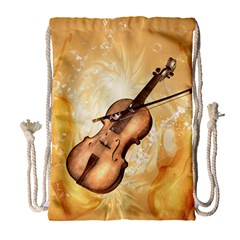Wonderful Violin With Violin Bow On Soft Background Drawstring Bag (large)