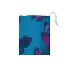 Purple and Turquoise Butterflies Drawstring Pouches (Small)
