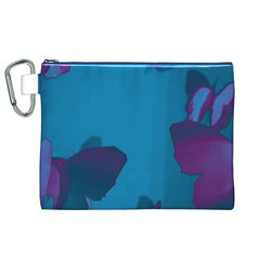 Purple and Turquoise Butterflies Canvas Cosmetic Bag (XL)