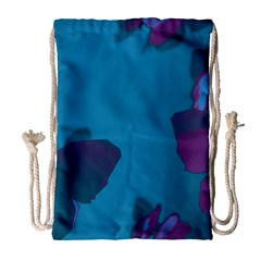 Purple and Turquoise Butterflies Drawstring Bag (Large)