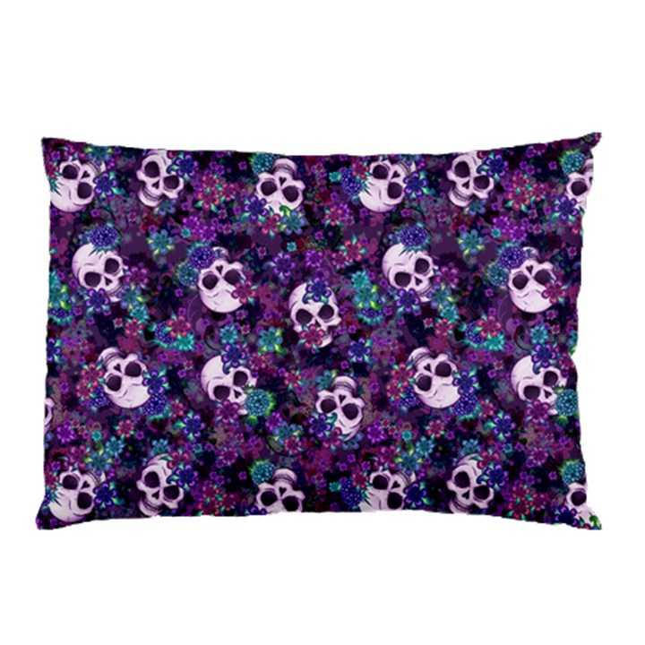 Flowers and Skulls Pillow Case (Two Sides)