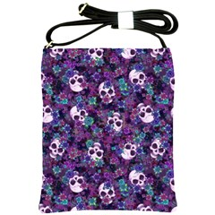Flowers And Skulls Shoulder Sling Bag