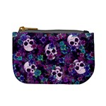 Flowers and Skulls Coin Change Purse Front