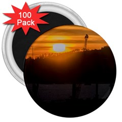 Aerial View Sunset Scene Of Montevideo Uruguay 3  Magnets (100 pack)