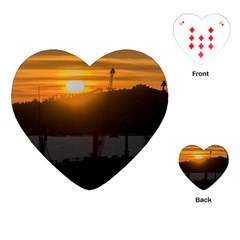 Aerial View Sunset Scene Of Montevideo Uruguay Playing Cards (heart)