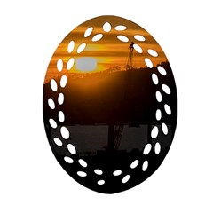 Aerial View Sunset Scene Of Montevideo Uruguay Ornament (oval Filigree)