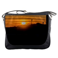 Aerial View Sunset Scene Of Montevideo Uruguay Messenger Bags