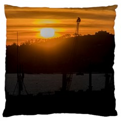 Aerial View Sunset Scene Of Montevideo Uruguay Large Cushion Cases (One Side)