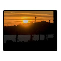 Aerial View Sunset Scene Of Montevideo Uruguay Double Sided Fleece Blanket (Small)