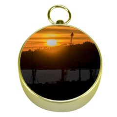 Aerial View Sunset Scene Of Montevideo Uruguay Gold Compasses