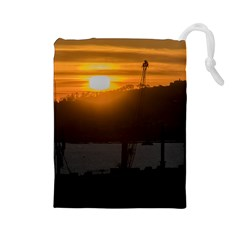Aerial View Sunset Scene Of Montevideo Uruguay Drawstring Pouches (Large)