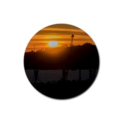 Aerial View Sunset Scene Of Montevideo Uruguay Rubber Coaster (Round)