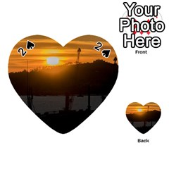 Aerial View Sunset Scene Of Montevideo Uruguay Playing Cards 54 (heart)