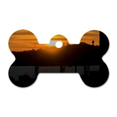 Aerial View Sunset Scene Of Montevideo Uruguay Dog Tag Bone (One Side)