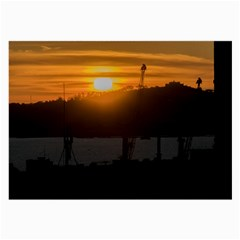 Aerial View Sunset Scene Of Montevideo Uruguay Large Glasses Cloth