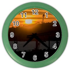 Aerial View Sunset Scene Of Montevideo Uruguay Color Wall Clocks