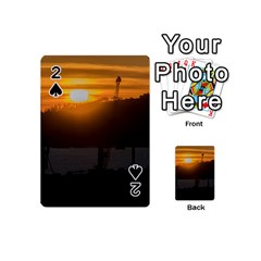 Aerial View Sunset Scene Of Montevideo Uruguay Playing Cards 54 (Mini)