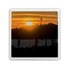 Aerial View Sunset Scene Of Montevideo Uruguay Memory Card Reader (square)