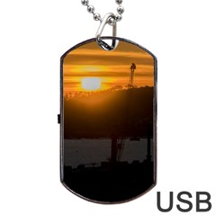 Aerial View Sunset Scene Of Montevideo Uruguay Dog Tag Usb Flash (one Side)