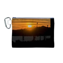 Aerial View Sunset Scene Of Montevideo Uruguay Canvas Cosmetic Bag (M)