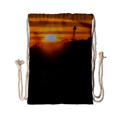 Aerial View Sunset Scene Of Montevideo Uruguay Drawstring Bag (Small)
