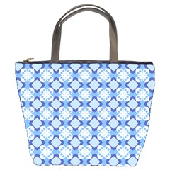 Blue White Pattern Bucket Handbag