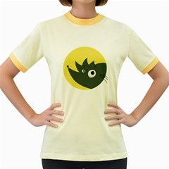 Cute Kawaii Cartoon Hedgehog Women s Ringer T-shirt (Colored)