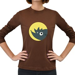 Cute Kawaii Cartoon Hedgehog Women s Long Sleeve Dark T-Shirts