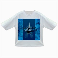 Surf, Surfboard With Water Drops On Blue Background Infant/toddler T Shirts