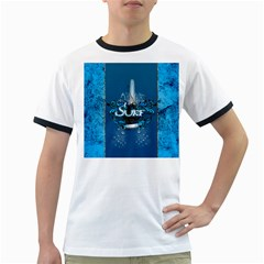 Surf, Surfboard With Water Drops On Blue Background Ringer T-Shirts