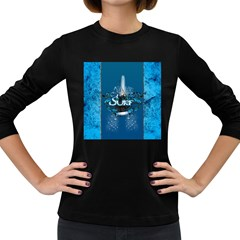 Surf, Surfboard With Water Drops On Blue Background Women s Long Sleeve Dark T-Shirts
